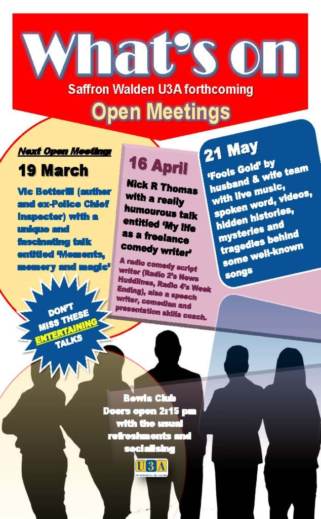 Poster for Open Meetings - March April May 2018